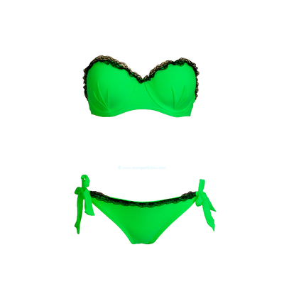 Costume da bagno a due pezzi  a balconcino in pizzo verde fluo