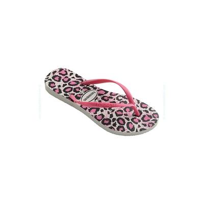 Infradito Slim Animals bianche e rosa con stampa leopardata bambino/adulto