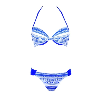 Costume a due pezzi push-up Maya con stampa blu
