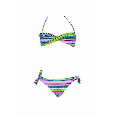 Costume da bagno per bambina a 2 pezzi a fascia intrecciata con stampa multicolore