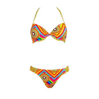 Costume 2 pezzi Push-up con stampa multicolore Mandala