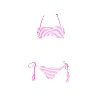 Costume a fascia due pezzi rosa per bambina