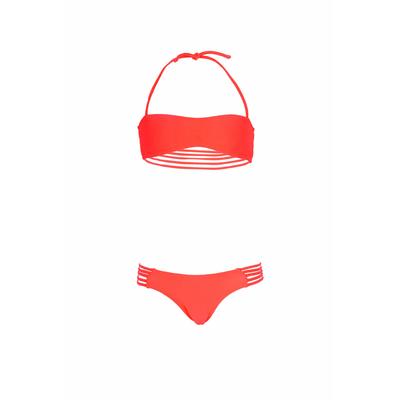 Mon Mini Teenie Bikini rosa corallo - Costume da bagno 2 pezzi a fascia per bambina