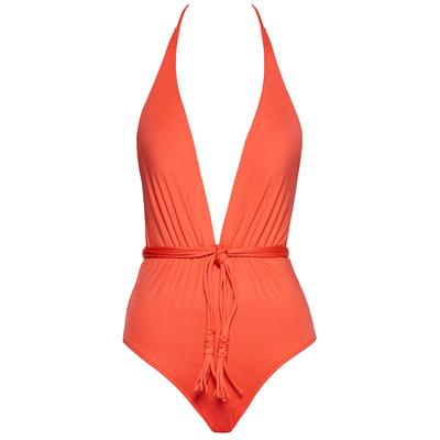 Costume intero arancione con scollatura profonda Seafolly