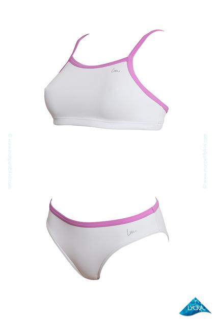 Costume due pezzi bianco modellante per il nuoto laure for Costumi due pezzi piscina