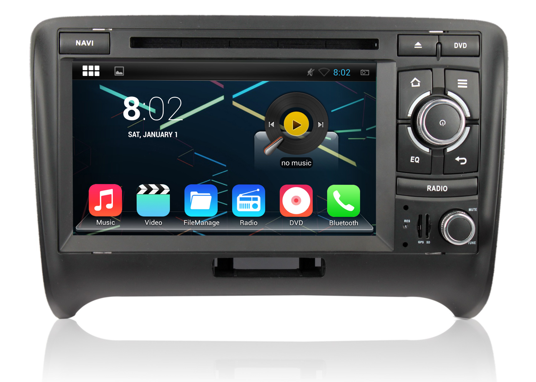 autoradio android 4 4 4 gps audi tt bluetooth usb sd dvd mirrorlink auto. Black Bedroom Furniture Sets. Home Design Ideas
