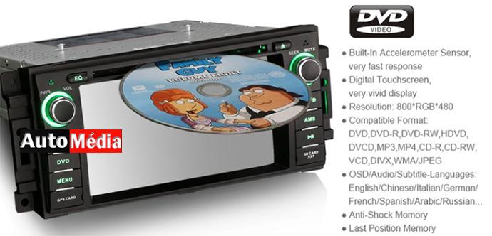 autoradio dvd gps mirrorlink dodge journey nitro cran tactile 6 2 auto media. Black Bedroom Furniture Sets. Home Design Ideas