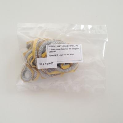 Joint tresse 181632 en fibre de verre diam. 6 mm adhésif - Long 3 m - Sous pochette
