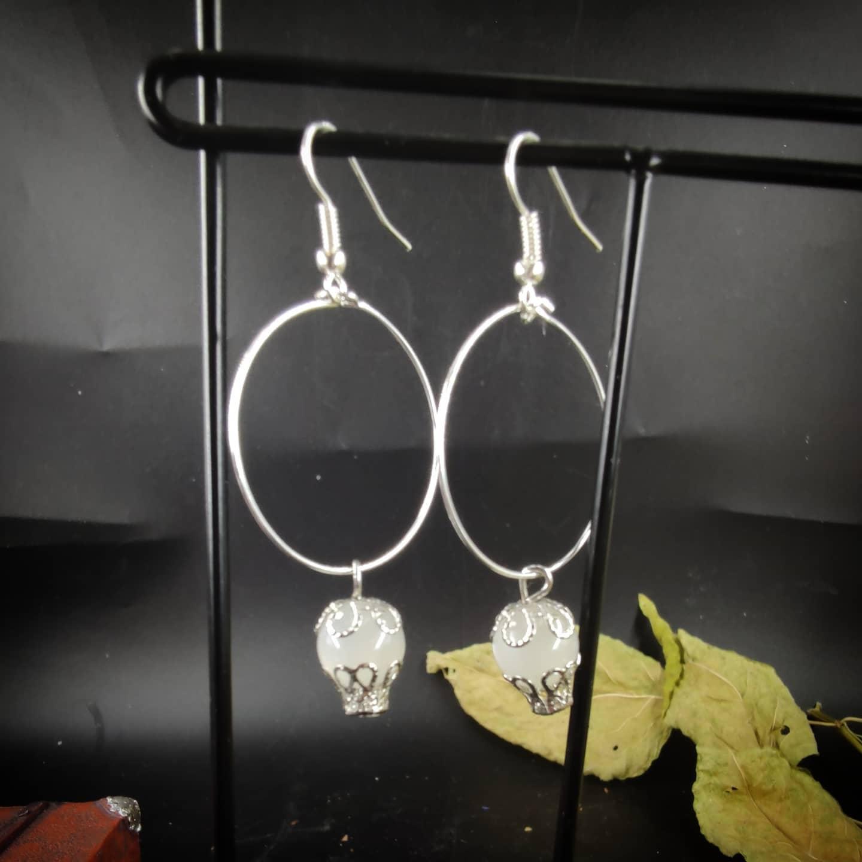 Boucles d\'oreilles : Lunatique pierre de Lune (argenté)