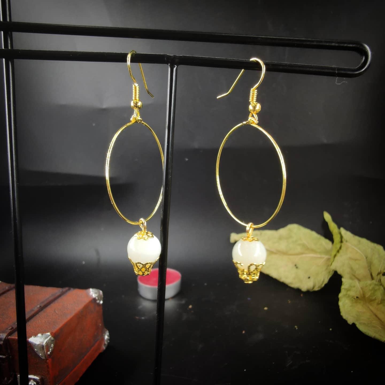 Boucles d\'oreilles : Lunatique pierre de Lune (doré)