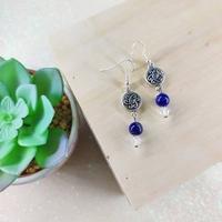Boucles d'oreilles : Eryl (Lapis lazuli et cristaux de Swarovski)