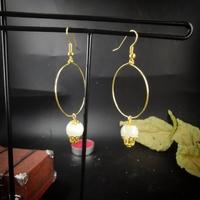 Boucles d'oreilles : Lunatique pierre de Lune (doré)