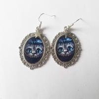 Boucles d'oreilles : chat de Cheshire