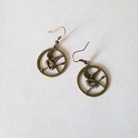 Boucles d'oreilles : Geai moqueur (bronze)