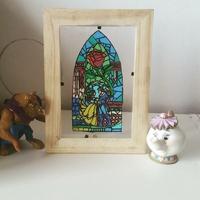 Cadre vitrail : La rose enchantée (La Belle et la Bête)
