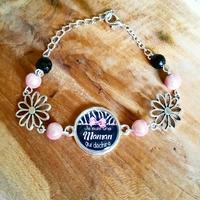 Bracelet : Maman en rose et noir