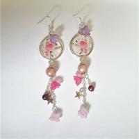 Boucles d'oreilles bucoliques  : jolies roses