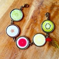 Bracelet cabochon : petite salade de fruit