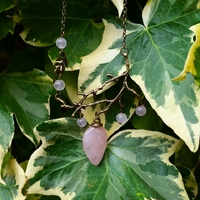 Collier nymphe : Quartz Rose Véritable
