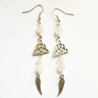 Boucles d'oreilles celtique : Quartz Rose Véritable et cristaux Swarovski