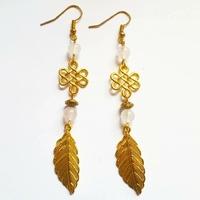 Boucles d'oreilles celtique : Quartz Rose Véritable