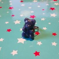 bague ourson bleu gris