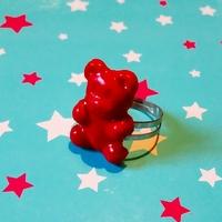 bague ourson rouge