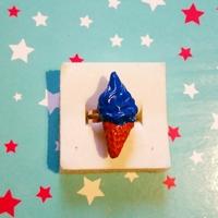 Bague : glace à l'italienne bleue