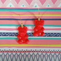 Boucles d'oreilles : Oursons rouges