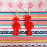 Boucles d'oreilles : Bonbons rouge