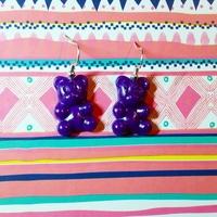 Boucles d'oreilles : Ourson violet foncé