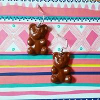 Boucles d'oreilles : Ourson chocolat