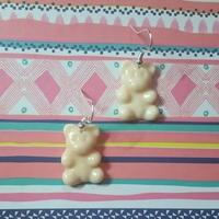 Boucles d'oreilles : Ourson phosphorescent rosé