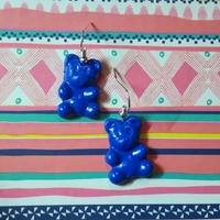 Boucles d'oreilles : Ourson bleu foncé