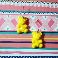 Boucles d'oreilles : Ourson jaune clair