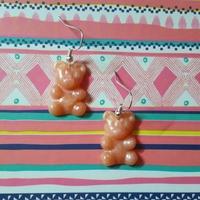Boucles d'oreilles : Ourson rosé