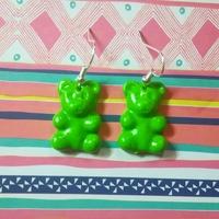 Boucles d'oreilles : Ourson vert