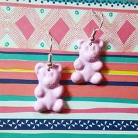 Boucles d'oreilles : Ourson rose pâle