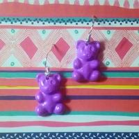 Boucles d'oreilles : Ourson violet