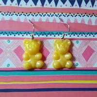 Boucles d'oreilles : Ourson jaune translucide