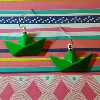 ★ Boucles d'oreilles origami : Petit bateau vert