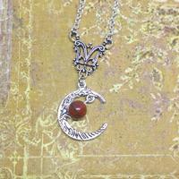 ☆Collier dans la Lune ☆ Jaspe rouge véritable.