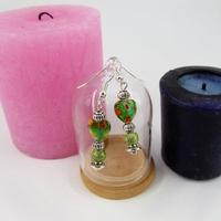Boucles d'oreilles : Cœur vert