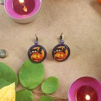 Boucles d'oreilles : Citrouille et chat d'Halloween