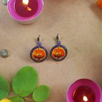 Boucles d'oreilles : Citrouille d'Halloween