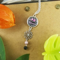 Collier : Maman en rose et noir