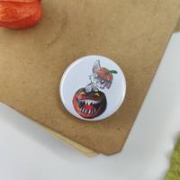 Badge holographique : Lapin Citrouille