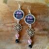 Boucles d'oreilles : Maman en rose et noir