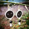 Boucles d'oreilles : Chat noir