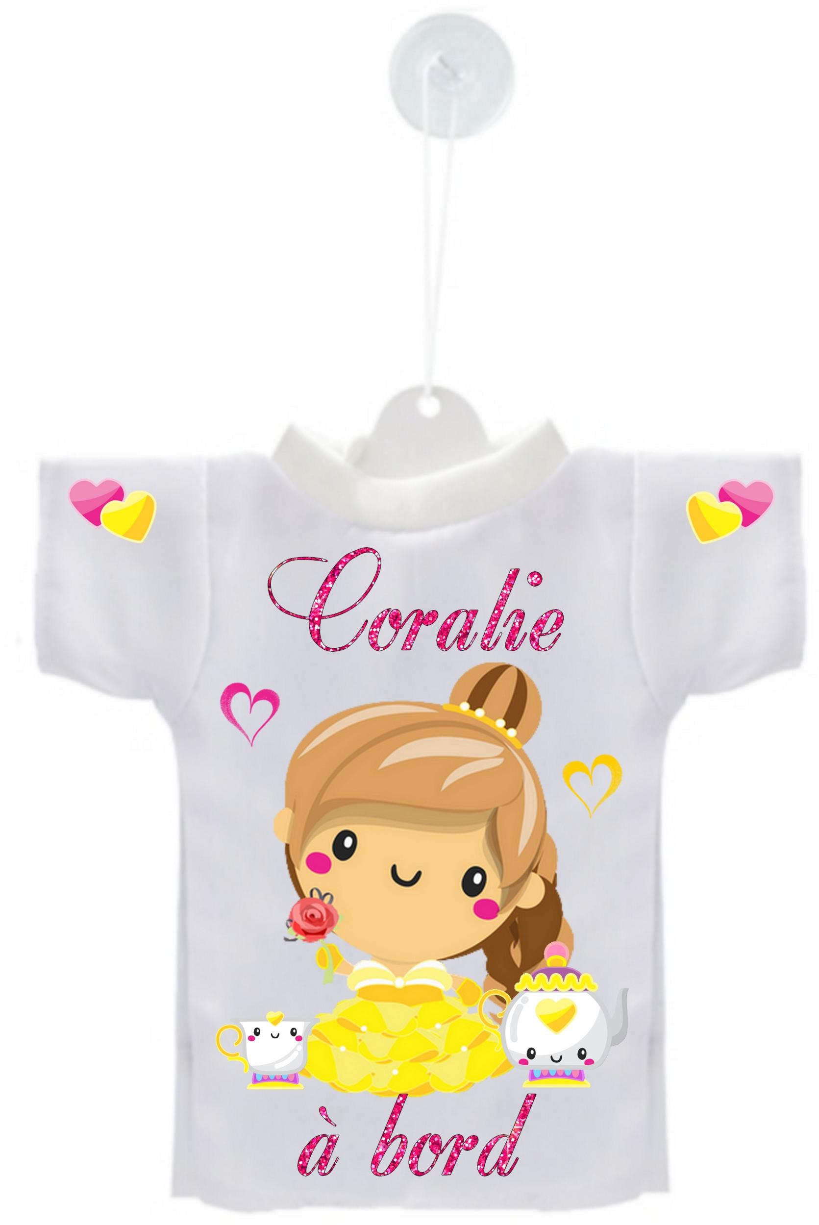 443dfec98248c Mini tee shirt voiture Bébé à bord Princesse personnalisé avec prénom